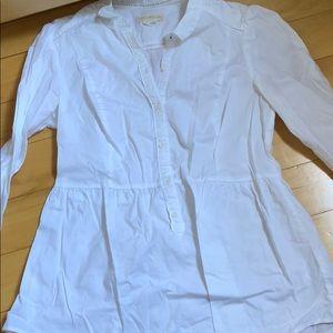 Anthropologie white blouse with peplum size 10